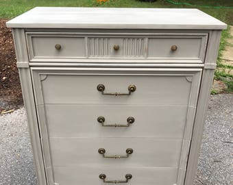 sold french provincial regency solid wood highboy dresser chest