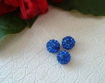 Pearl SHAMBALLA 10mm color: Sapphire resin and rhinestones
