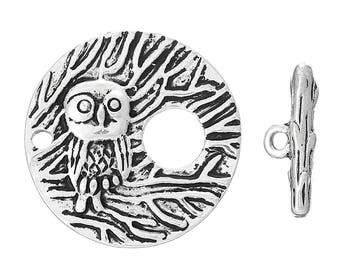 Set TOGGLE clasp in form of an OWL on his branch size 28mm
