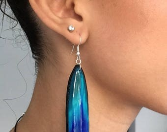 Earrings long blue summer