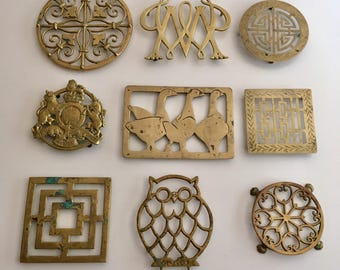 A Collection of 9 Solid Brass Trivets For An Instantaneous Very Charming Wall Decor