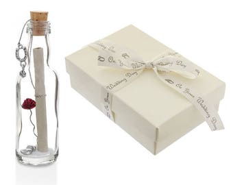 On Your Wedding Day Gifts for Couple - Personalised Message in a Bottle with Gift Box