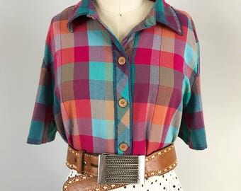 Beautiful Vintage Sorbet Colored Checkered Button Up Blouse with Wooden Buttons by Koret City Blues Size Medium - OSV0234