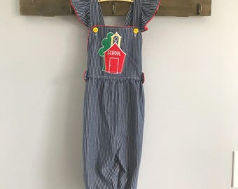 Vintage Blue and White Pinstriped Schoolhouse Romper Overalls Size 4t - OSVKC0254