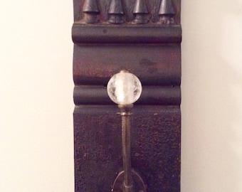 Architectural salvage wall hook, repurposed vintage plinth, reclaimed wood, antique look bronze hook