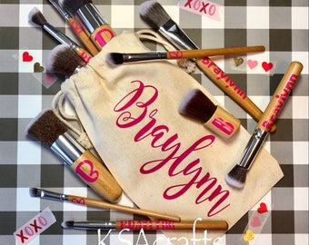 Personalized Bamboo Makeup Brush Set