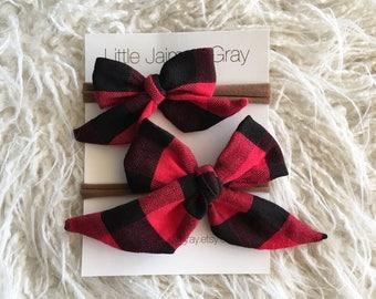 Buffalo plaid sailor bows, nylon headband, hair clip