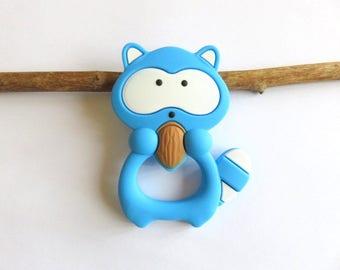 Raccoon in food grade silicone blue teething ring