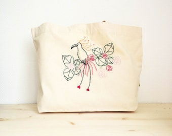 Thick cotton embroidered bag Paradisier Rose
