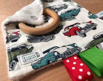 """5"""" Taggie Toy with 2"""" Wood Teether - Cars"""