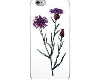 Botanical flower iPhone case, for plant lovers,  with unusual vintage purple thistle drawing