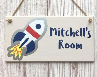 Rocket Personalised Door Sign ~ Kids Spaceship Door Plaque ~ Children's Bedroom Plaque ~ Kids Door Hanger ~ Custom Name Sign ~ Kid Room Sign