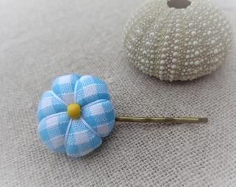 Japanese flower turquoise Plaid 2,2 cm Barrette