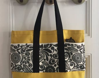 Vintage Fabric Market Tote 14 x 18 x 4 -- Yellow Canvas with Dark Grey Graphic, 3 Pockets