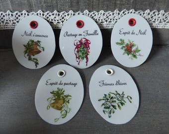 """set of 5 labels metal """"waiting for Christmas"""""""