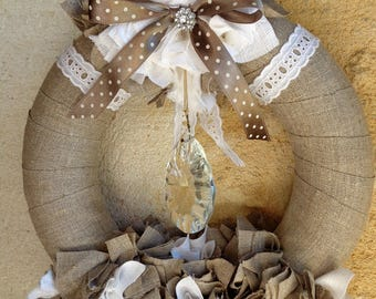 Wreath shabby chic in natural linen lace and Crystal pendant