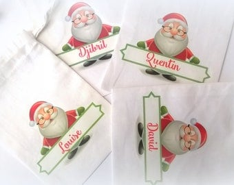 Mini Santa Claus personalized fabric bag