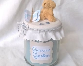 Teddy bear, personalized birth candle. Available in pink