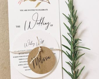 Wedding / Engagement inviation guest name card, placecards. Tag, round