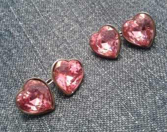 Gorgeous Thomas Pink Crystal Heart Cuff Links