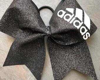 Black glitter adidas cheer bow
