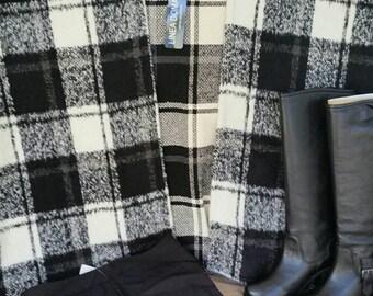 B&W Wool Cape Blanket Shrug BOHO Style