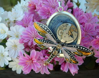 54 * 38 MM PENDANT IS HAND - MOLDED DRAGONFLY STEAMPUNK