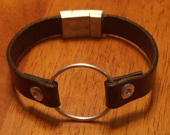 Sterling silver and leather bracelet with magnetic clasp