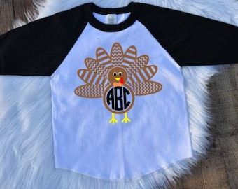 Thanksgiving Boy Shirt, Monogrammed Boy shirt, Boy Turkey Shirt, Personalized Boy Thanksgiving Shirt, Thanksgiving Outfit, Thanksgiving