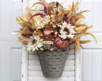 Fall Wreath For Front Door, Farmhouse Wall Hanger, Autumn Door Hanger, White Sunflowers and Welcome Scarecrow in a Metal Olive Basket.