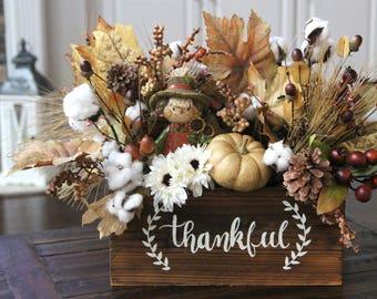 Fall Arrangement, Farmhouse Decor, Wood Box Centerpiece, Thanksgiving Arrangement, Table Decor, Scarecrow/Cotton Centerpiece