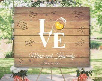 Rustic Wedding guest book alternative, Barn Wedding guest book canvas, Mason Jar wedding guest book, Wedding signature idea