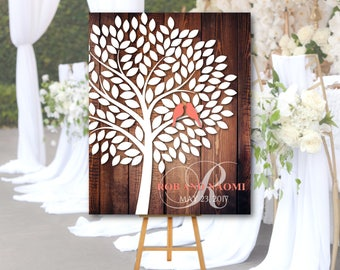 Wedding Guest book Alternative Tree with birds, Canvas or Poster, Rustic Wedding Guestbook alternative,Signature Tree Canvas,Tree guest book