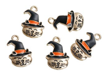 5 Gold Plated Enameled Witch Cat Charm/Pendants 24 x 15mm (B259p)