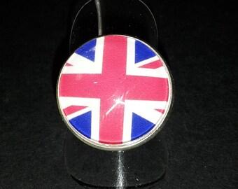 Flag glass cabochon Adjustable ring
