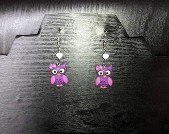Funny purple OWL Stud Earrings