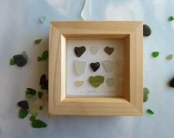 Cornish seaglass art, framed seaglass picture, rare seaglass hearts, Cornish holiday momento, coastal gift idea, new mum gift, new baby gift