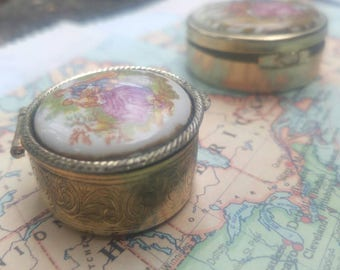 Two Lovers Picnic - small, brass box with porcelain tile top
