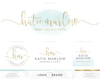 Logo Design & Business Card Branding Package, Mint Watercolor and Gold Premade Logo, Photography Logo and Photography Watermark