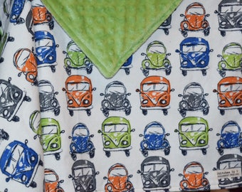 Beetle and Bus Baby Toddler Child Boy Blanket Voltswagon Nursery Car Boy Crib Bedding for Newborn Baptism Present
