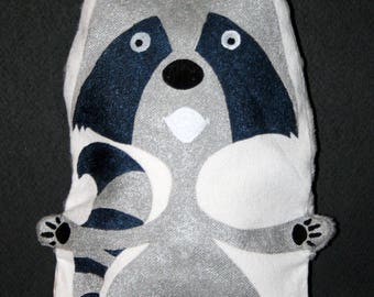 Small heating pad-silver raccoon - OOAK