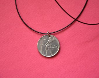 Italy L50 Lira. Real Coin Pendant. REPVBLICA. ITALIANA  Сoin jewelry. Mens Necklace, Womens Necklace, Birth Year 1981