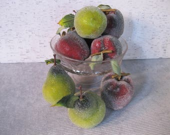 Sugar Coated Apples and Pears Tree Ornaments / Vintage Ornaments