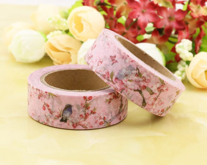 Pink Floral Washi Tape - Floral Bird washi Tape -  Pink floral Bird Washi Tape - Paper Tape - Planner Washi Tape - Washi - Decorative Tape