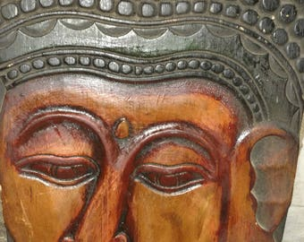 Hand Carved Wooden Buda Wall Hanging