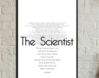 The Scientist Poster. Instant Download. Coldplay posters. Digital printing. Scandinavian style. Gift for him. Gift for her.