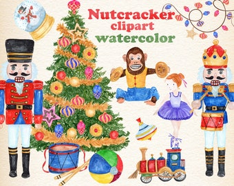 "Christmas clipart: ""NUTCRACKER CLIPART"" Toy soldiers,Retro toys,Kids clipart,Watercolor Christmas,Christmas cards,Christmas tree,Ballerina"