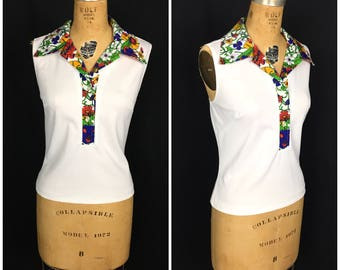 1970s Rainbow Floral Pointy Collar Sleeveless Top 70s Mod Pointed Collar Flower Button up Shirt