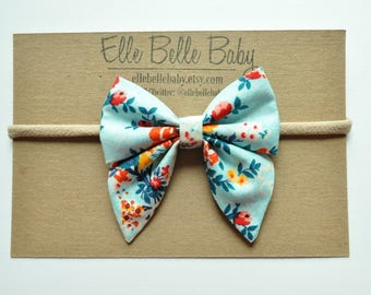 Aqua Blue Red Floral Elle Sailor Hairbow - Baby Headband-Cotton Newborn Bow-Hairbow with tails-Toddler clip-Nylon Headband-Alligator Clip