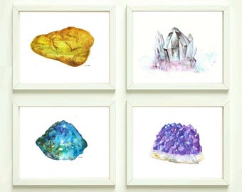 Set of 4  Printable  Gems & MineralsWall Decor Watercolor Gems  Painting Poster Painting Amber Stone Amethyst Wall Art  Quartz Print